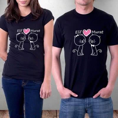 Kedi Tasarımlı Çift Tişörtü