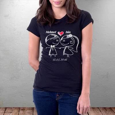 Sevgiliye Hediye Baskılı T-Shirt