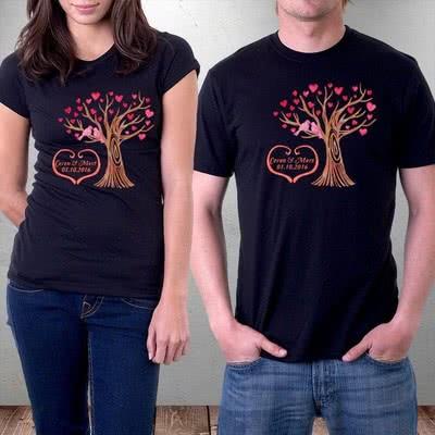 Sevgililer İçin Ağaç Tasarımlı Aşk T-shirtleri