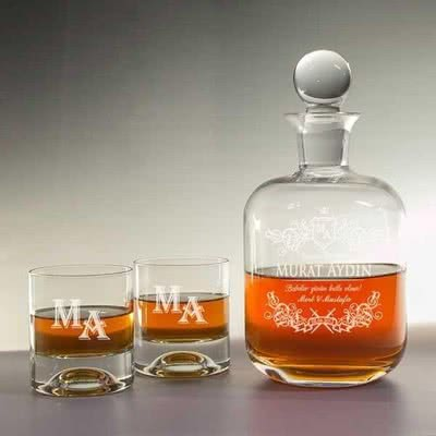 Babalar Günü Özel Tasarım Viski Şişesi ve Kadeh Seti