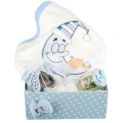Erkek Bebekler için Özel Baykuş Desenli Hediye Sepeti