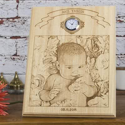 Yeni Doğan Bebek Hediyesi Ahşap Foto