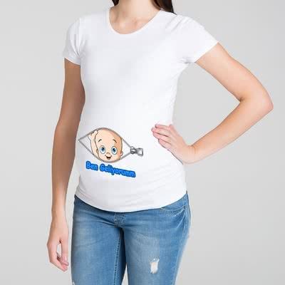 Ben Geliyorum Tasarımlı Hediye Hamile Tişörtü