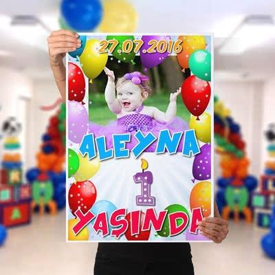 Çocuğa Doğum Günü Partisi Posteri