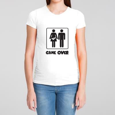 Game Over Tasarımlı Hediye Hamile Tişörtü