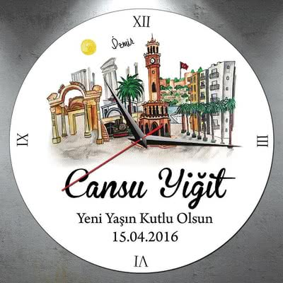 İsim Yazılı İzmir Şehri Duvar Saati