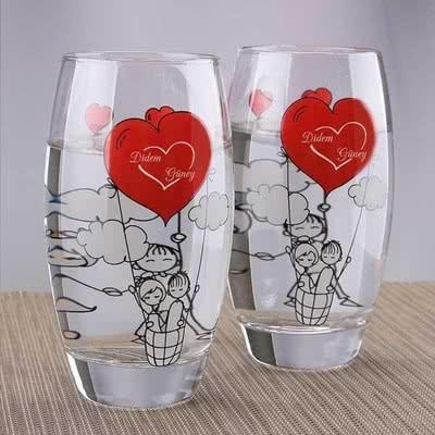 Çiftlere Özel Hediye Kokteyl Bardağı Seti