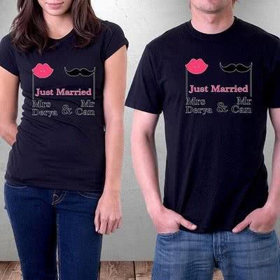 Just Married İsim Yazılı Tişört