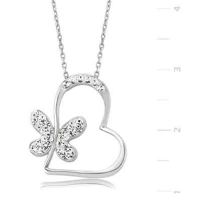 Sevgililer Günü İçin Kalpli Kelebek Kolye