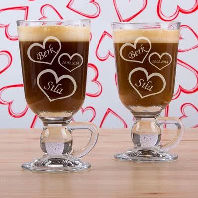 Kalp Desenli irish Kahve Bardak Seti