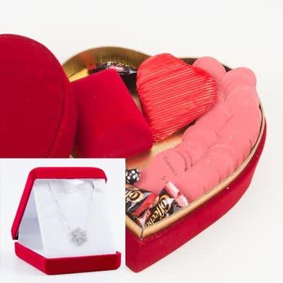 Kar Taneli Gümüş Kolye Seni Seviyorum Mesajlı Hediye Sepeti