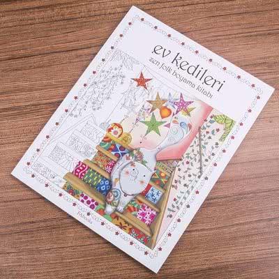 Kedi Severler İçin Ev Kedileri Zen Folk Boya Kitabı