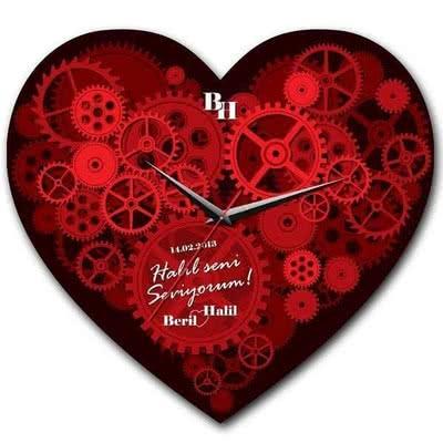 Kırmızı Kalp Duvar Saati