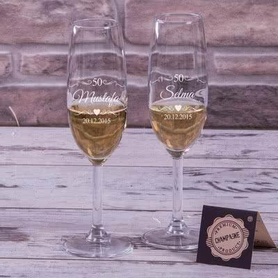 Kişiye Özel Hediye Şampanya Kadehi Seti