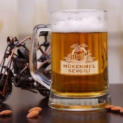 Erkek Sevgiliye Hediye İsimli Bira Bardağı