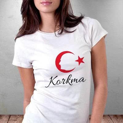 Korkma Yazılı Ay Yıldız Atatürk Silüetli Baskılı Tişört