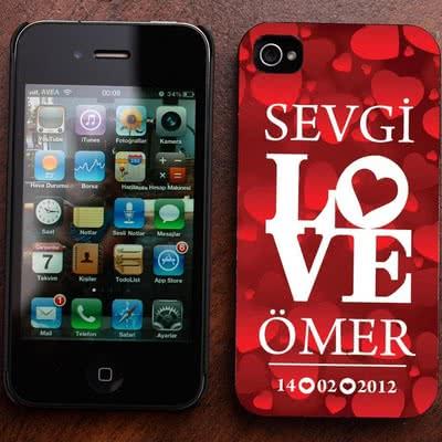 Love Desenli iPhone 4-4s Kabı