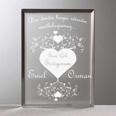 Sevgiliye Hediye Mesajlı Plaket