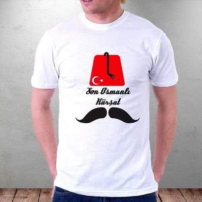 Osmanlı Tasarımlı Fes ve Bıyık Baskılı Tişört