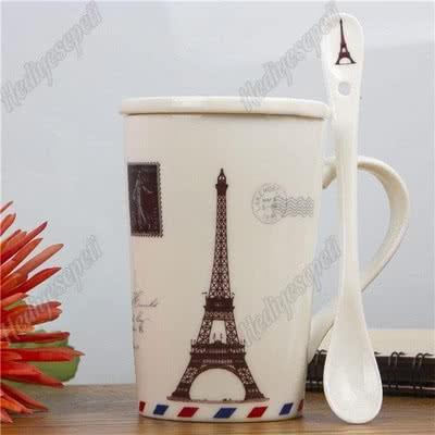Paris Desenli Kaşıklı Kupa