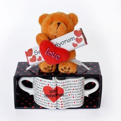 Sevgiliye Yılbaşı Hediyesi Peluş Ayılı Kupa Bardak