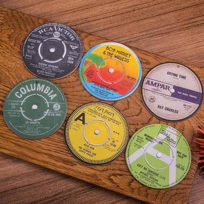 Müzikseverlere Plak Baskılı Bardak Altlıkları