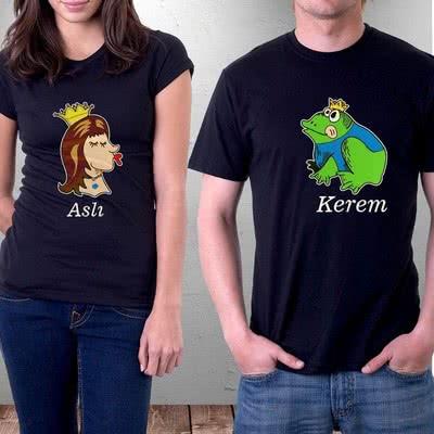 Prenses Ve Kurbağa Baskılı Sevgili Tişörtü