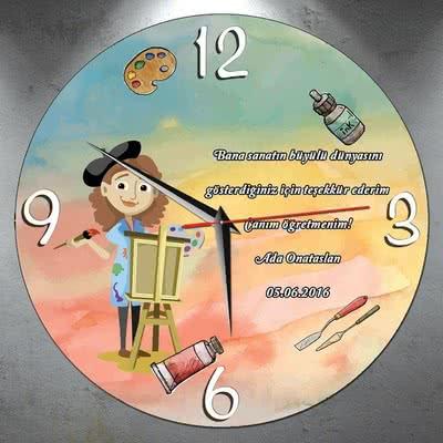 Resim Öğretmenine Hediye Duvar Saati