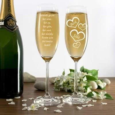 Şampanya Kadeh Seti Sevgiliye Mesajlı