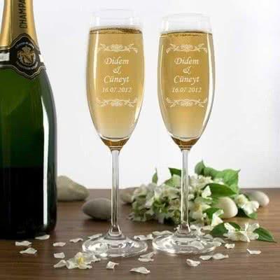 Çiftlere Düğün Hediye Şarap Kadehi Seti
