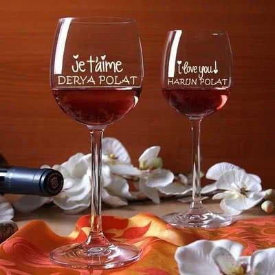 Şarap Kadeh Seti Jetaime - I love you