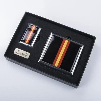 Sarı Kırmızı Tasarımlı Çakmak Sigara Tabakası Seti