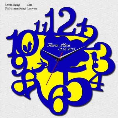 Sarı Lacivert Dekoratif Duvar Saati
