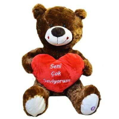 Seni Seviyorum Kalpli Kahverengi Peluş Ayı