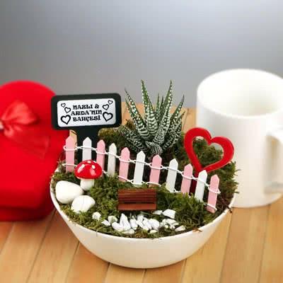 Sevgililere Özel Kalpli Minyatür Bahçe