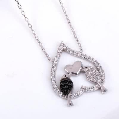 Sevgiliye Hediye Aşık Kuşlar Gümüş Kolye