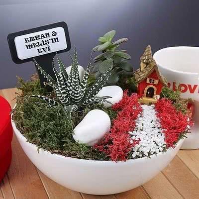 Boğa Burcuna Sevgiliye Hediye İsme Özel Minyatür Bahçe