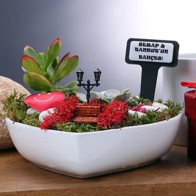 Sevgiliye Hediye Kalpli Mini Bahçe