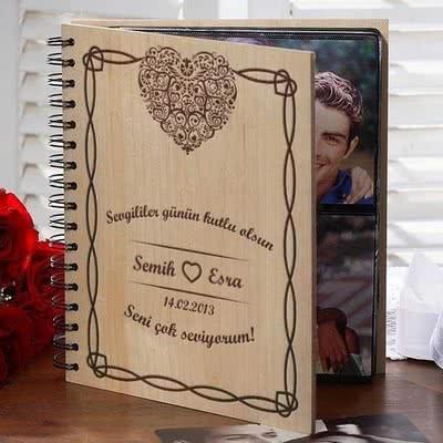 Sevgiliye Özel Fotoğraf Albümü Kalp Desenli