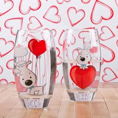 Sevimli Fino Tasarımlı Kalp Bardak