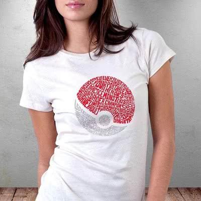 Typography Poke Topu Tasarımlı Baskılı Tişört