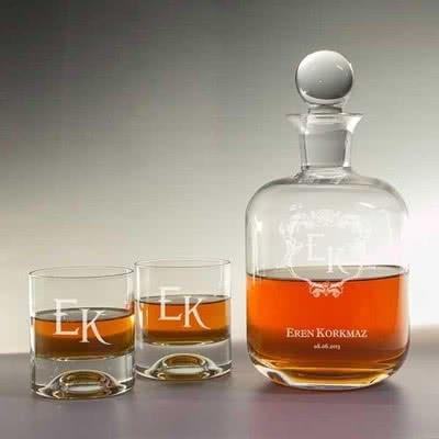 Viski Şişesi & Kadeh Seti Baş Harf İşlemeli