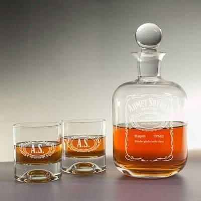 Viski Şişesi & Kadeh Seti - Jack Daniels Arma Desenli
