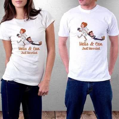 Yeni Evli Çiftlere Özel Aşk Tasarımlı T-shirt