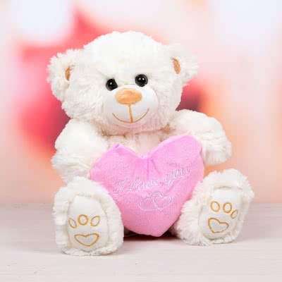Sevgiliye Hediye Kalp Tutan Peluş Ayıcık