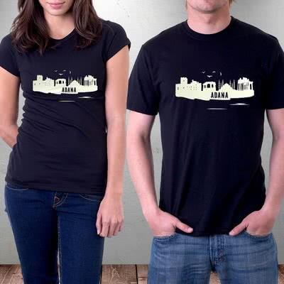 Adana Şehir Silüeti Baskılı Tişört