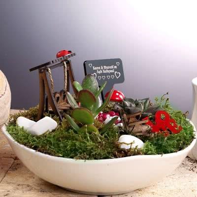 Terazi Burcu Eşe Hediye Minyatür Bahçe