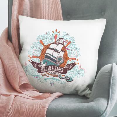 Yelkenli Tasarımlı Hediye Yastık