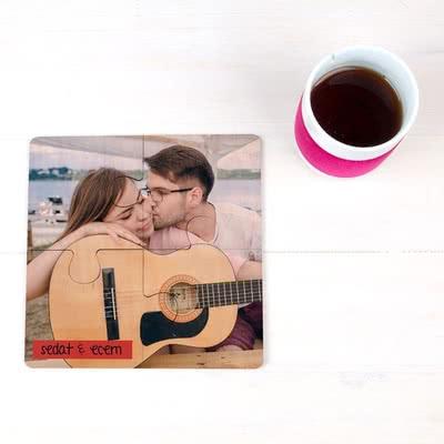 Çiftlere Özel Fotoğraf Baskılı Puzzle Bardak Altlığı
