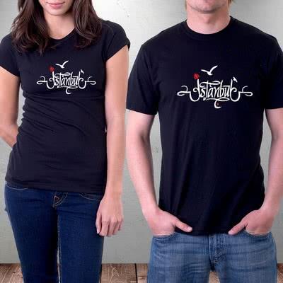 İstanbul Özel Hat Yazılı Tasarımlı Baskılı Tişört